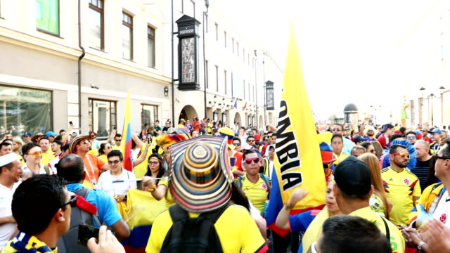 colombian fans make their way through the streets of kazan colombia plays poland on the 24th in kazan - kazan russia stock videos and b-roll footage