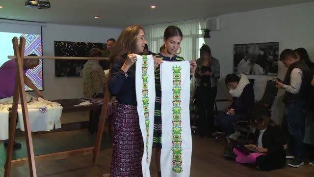 Colombian fashion designer Mercedes Salazar presents designs for the Pope's attire ahead of his upcoming visit to Colombia presenting fabrics and...