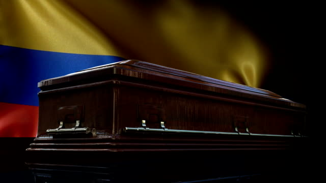 colombian flag behind coffin - coffin stock videos & royalty-free footage