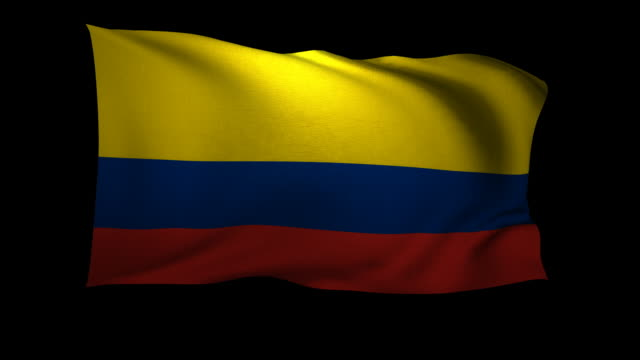 cgi colombian flag waving against black background - colombian flag stock videos and b-roll footage