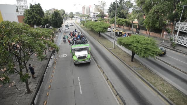 """colombian indigenous taking part in a """"minga"""" travel to bogotá trough the pan-american highway as they demand a meeting with president iván duque... - pan american highway stock videos & royalty-free footage"""