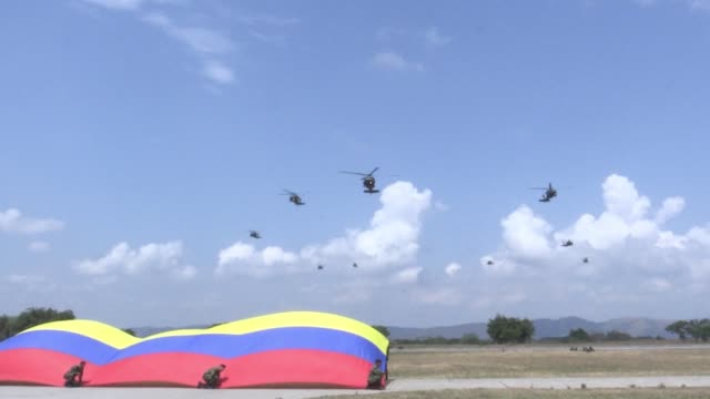 Colombian President Ivan Duque launches the new national security and defence policy at the Tolemaida military fort in Cundinamarca department to...
