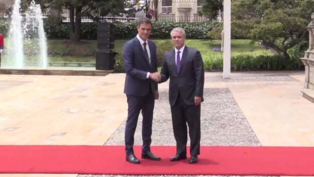 colombian president ivan duque welcomes spanish prime minister pedro sanchez to casa narino palace during the two day official visit in bogota - prime minister video stock e b–roll