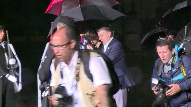 colombian president juan manuel santos arrives in mexico city for a two day official visit - juan manuel santos stock videos & royalty-free footage
