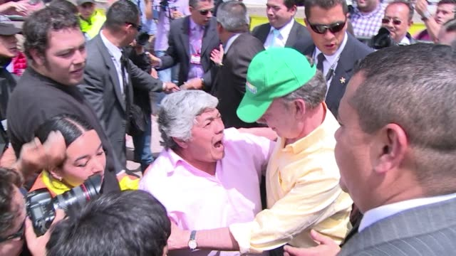 colombian president juan manuel santos holds a rally together with former leftist candidate clara lopez - juan manuel santos stock videos & royalty-free footage