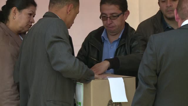 colombian president juan manuel santos who is running for reelection cast his vote in bogota on sunday - juan manuel santos stock videos & royalty-free footage