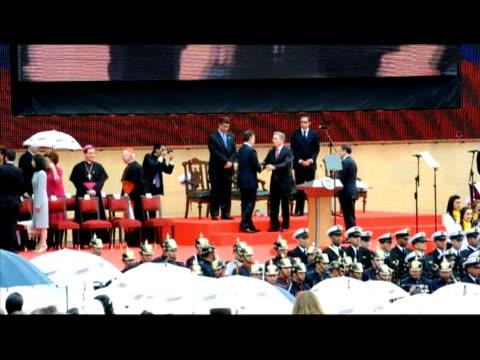 colombian president-elect juan manuel santos takes office in bogota. bogota, colombia. - juan manuel santos stock videos & royalty-free footage