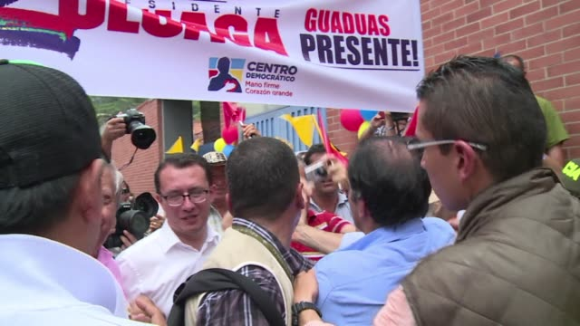 colombian presidential candidate oscar ivan zuluaga supported by former president alvaro uribe is the main opponent of president juan manuel santos... - juan manuel santos stock videos & royalty-free footage