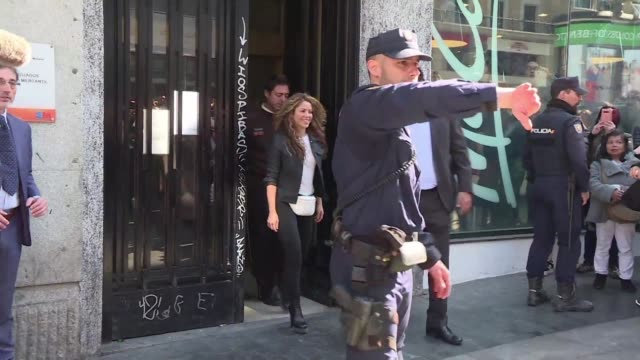 colombian singer shakira leaves court after she and carlos vives deny that they plagiarised part of their grammy award winning hit la bicicleta - shakira stock videos and b-roll footage