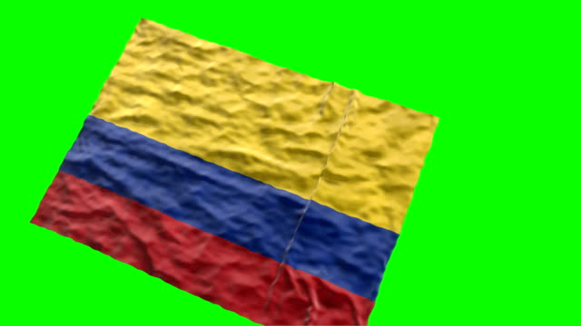 colombian stadium flag. waving on green screen - colombian flag stock videos and b-roll footage