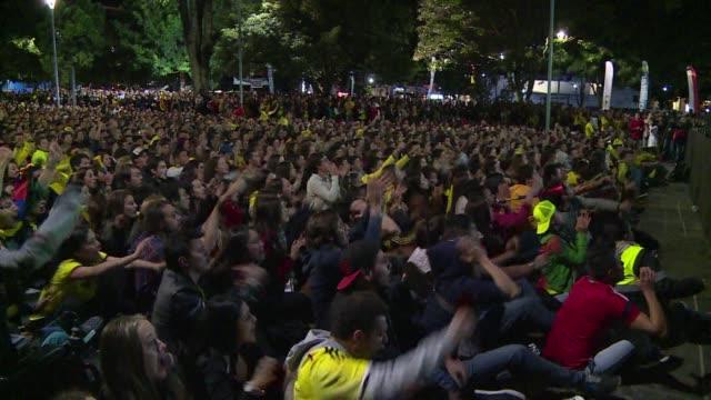 Colombians celebrate their team's Copa America win against Brazil in Bogota
