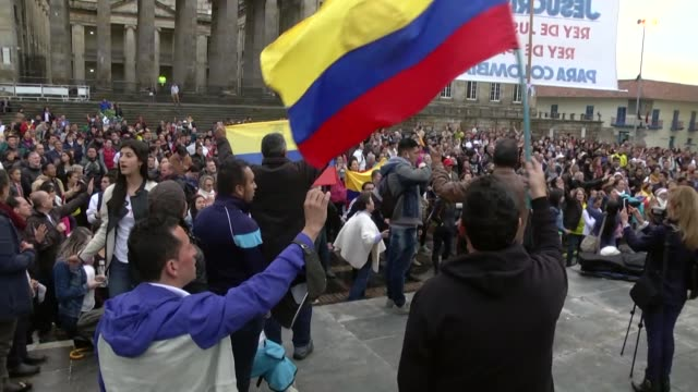 colombians gather at bolivar square to promote the no vote in the upcoming referendum on the peace deal signed between the government and the... - campaigner stock videos & royalty-free footage
