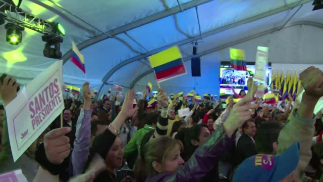 colombians re elected president juan manuel santos on sunday in a cliffhanger poll seen as a referendum on peace talks with farc guerrillas election... - juan manuel santos stock videos & royalty-free footage