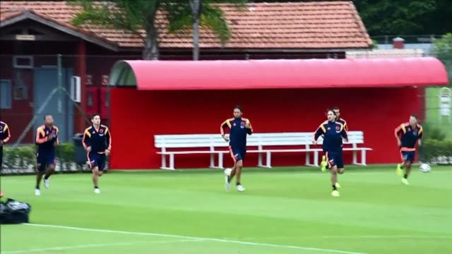 Colombias national squad trained Tuesday at the President Laudo Natel Athlete Formation Center in Cotia Sao Paulo two days before the kick off of the...
