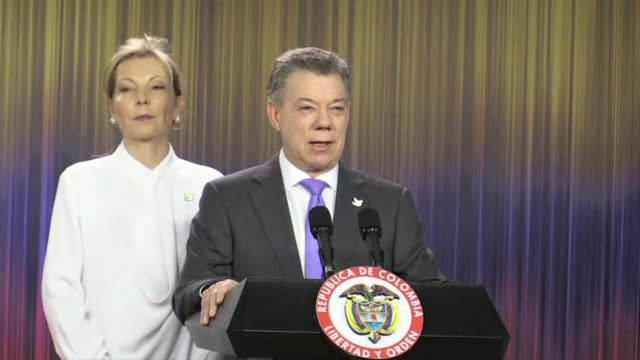 colombia's president juan manuel santos dedicated his nobel peace prize friday to the victims of his country's civil war which he has worked to end... - juan manuel santos stock videos & royalty-free footage