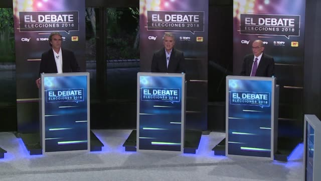 Colombia's presidential election candidates take part in a televised debate ahead of the election on 27 May