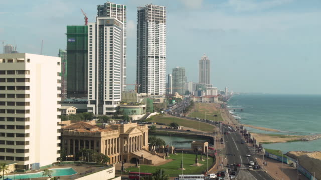 colombo sri lanka iconic image of galle face from high angle view - colonial stock-videos und b-roll-filmmaterial