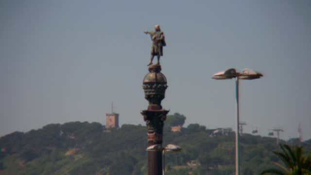 colon sculpture in barcelona - colon stock videos and b-roll footage