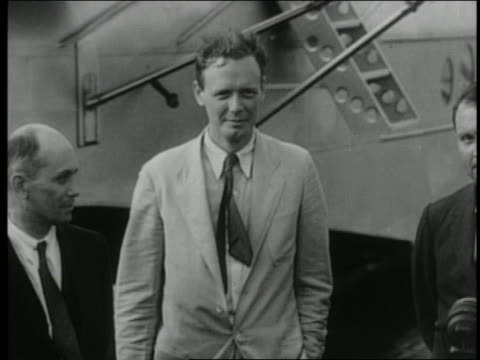 colonel charles lindbergh standing by american clipper plane - 1931 stock videos & royalty-free footage