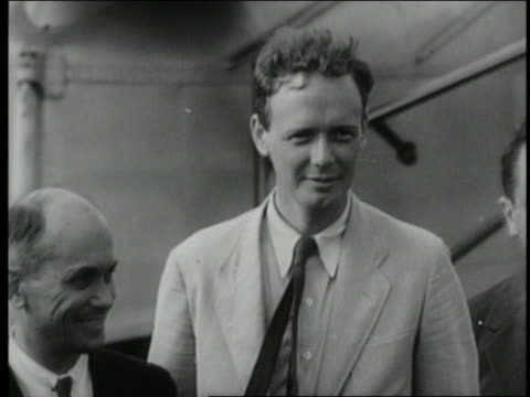colonel charles lindbergh standing in front of american clipper plane - 1931 stock videos & royalty-free footage