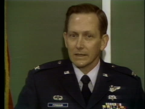 colonel earl ferguson says that security contingency plans for any type of response have been made in the event of war with iraq - war or terrorism or military stock-videos und b-roll-filmmaterial