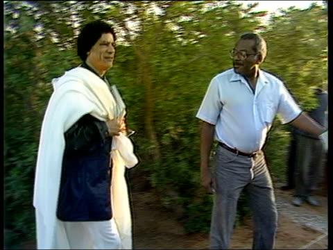 up close; lib libya: gaddafi into tent and conducts interview with trevor mcdonald tx 10.2.2004/en - トレバー マクドナルド点の映像素材/bロール