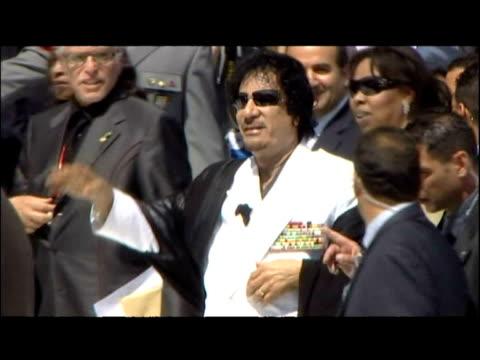 colonel gaddafi and abdoulaye wade arrive at g8 summit in l'aquila - muammar gaddafi stock videos & royalty-free footage