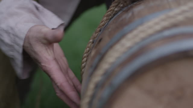 colonial man carrying barrel on back - cork stopper stock videos & royalty-free footage