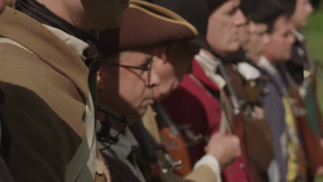 colonial soldiers standing in a line - colonial reenactment stock videos & royalty-free footage