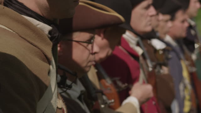 colonial soldiers standing in a line - revolution stock videos & royalty-free footage