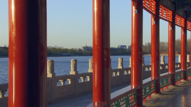 ms, pan colonnade in pavilion by lake, beihai park, beijing, china - colonnade stock videos & royalty-free footage