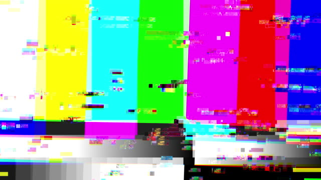 tv color bars with a digital malfunction (loop). - test pattern stock videos & royalty-free footage