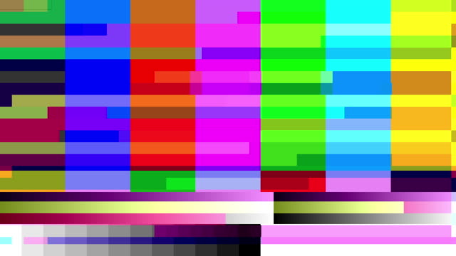 tv color bars with a digital malfunction. - tongue tied stock videos and b-roll footage