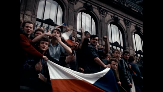Color film of protestors riding to confront Soviet troops at the height of the Prague Spring invasion