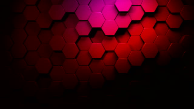 color gradient beautiful hexagons on surface morphing in seamless 4k abstract motion design background 3d animation for the concepts of technology, communication, transitions, party-social events, celebration events, finance, data, web and mobile - sharp stock videos and b-roll footage