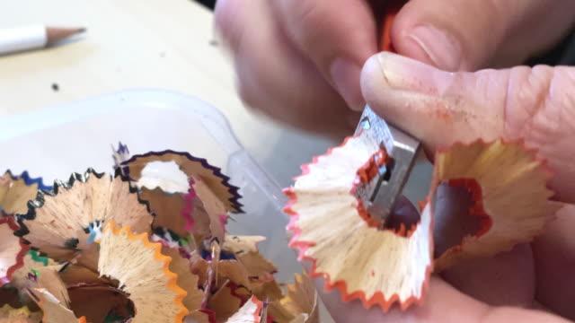 color pencil sharpening - pencil sharpener stock videos & royalty-free footage