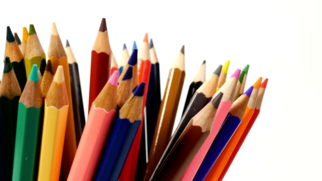 color pencils isolated on white background - pencil isolated stock videos & royalty-free footage
