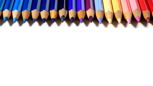 color pencils on white background - crayon stock videos and b-roll footage