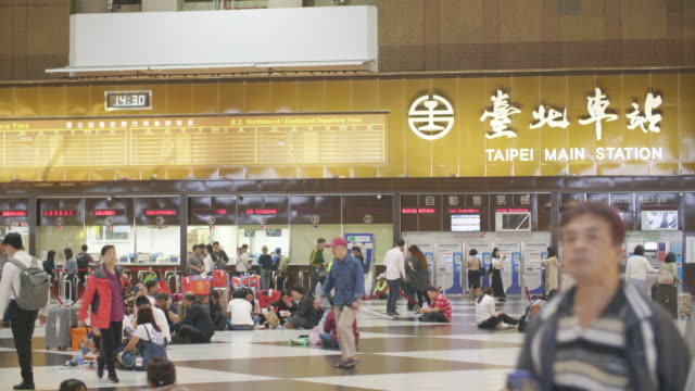 4k color video of people walking in main station of taipei taiwan - taipei stock videos & royalty-free footage