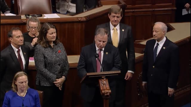 colorado congressman doug lamborn leads a moment of silence in the house chamber for three victims murdered by a gunman at a planned parenthood... - gunman stock videos and b-roll footage