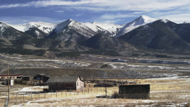 Colorado landscape with farm buildings and mountains