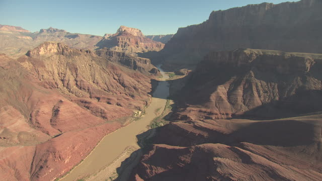 stockvideo's en b-roll-footage met ws aerial colorado river at the zuni point corridor approaching little colorado confluence / arizona, united states - zuni