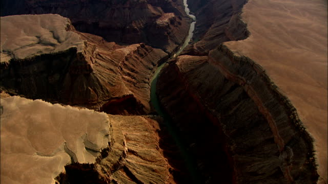 colorado river canyon  - aerial view - arizona,  coconino county,  united states - river colorado stock videos & royalty-free footage