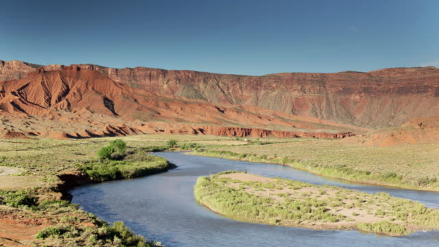 colorado river in castle valley, utah - aerial view - named wilderness area stock videos & royalty-free footage