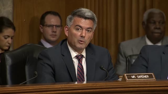 Colorado Senator Cory Gardner questions Mike Pompeo at a Senate Foreign Relations Committee hearing if North Korea was continuing their nuclear...