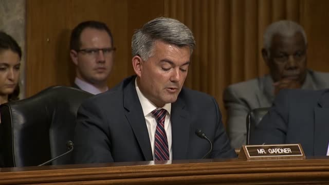 Colorado Senator Cory Gardner questions Mike Pompeo at a Senate Foreign Relations Committee hearing about North Korean denuclearization Pompeo...