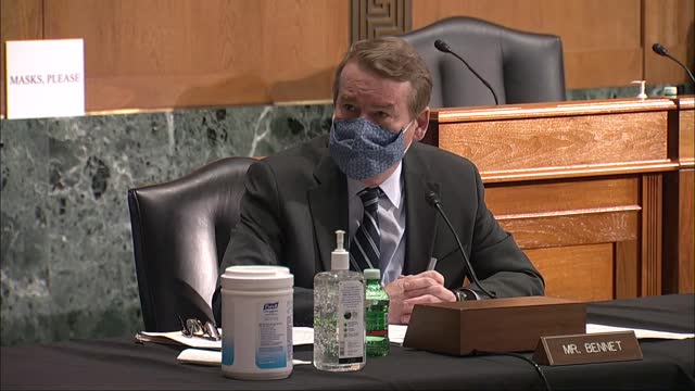 colorado senator mike bennet raises concerns about china with director of national intelligence nominee avril haines at her senate intelligence... - an answer film title stock videos & royalty-free footage