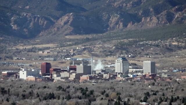 Colorado Springs city skyscrapers coal power plant Pikes Peak