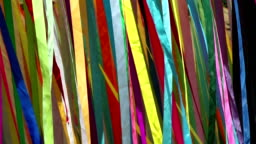Colored cloth bands on wind