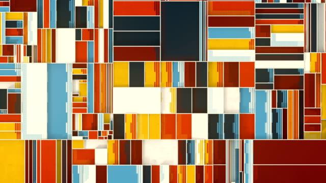 機械的な動きの長方形で作成された色付きの組成物。デジタルシームレスなループアニメーション。3d レンダリング。4k、ウルトラhd解像度 - 投影図点の映像素材/bロール